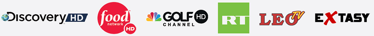 Discovery HD, Food Network HD, Golf Channel HD, Russia Today HD, Leo TV, Extasy
