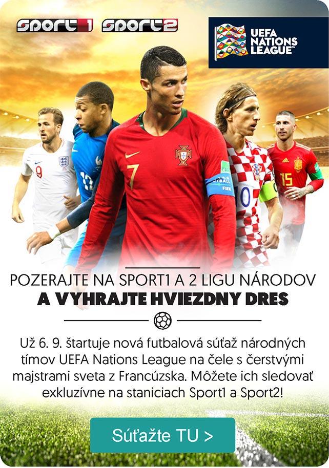 UEFA NATIONS LEAGUE – POZERAJTE NA SPORT1 A 2 LIGU NÁRODOV A VYHRAJTE HVIEZDNY DRES. Už 6. 9. štartuje nová futbalová súťaž národných tímov UEFA Nations League na čele s čerstvými majstrami sveta z Francúzska. Môžete ich sledovať exkluzívne na staniciach Sport1 a Sport2!
