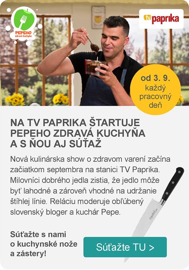 NA TV PAPRIKA ŠTARTUJE PEPEHO ZDRAVÁ KUCHYŇA A S ŇOU AJ SÚŤAŽ – TV Paprika – od 3. 9. každý pracovný deň – Nová kulinárska show o zdravom varení začína začiatkom septembra na stanici TV Paprika. Milovníci dobrého jedla zistia, že jedlo môže byť lahodné a zároveň vhodné na udržanie štíhlej línie. Reláciu moderuje obľúbený slovenský bloger a kuchár Pepe. Súťažte s nami o kuchynské nože a zástery!