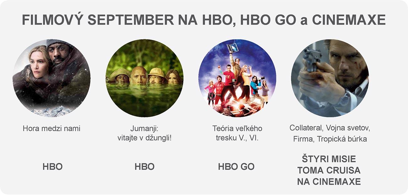 Filmový september na HBO, HBO GO a CINEMAXE: HBO – Hora medzi nami / HBO – Jumanji: Vitajte v džungli! / HBO GO – Teória veľkého tresku V., VI. / ŠTYRI MISIE TOMA CRUISA NA CINEMAXE – Collateral, Vojna svetov, Firma, Tropická búrka