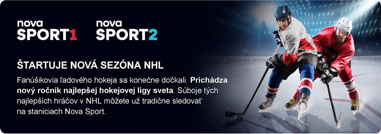 ŠTARTUJE NOVÁ SEZÓNA NHL - NOVA Sport1 / NOVA Sport2 - Fanúšikovia ľadového hokeja sa konečne dočkali. Prichádza nový ročník najlepšej hokejovej ligy sveta. Súboje tých najlepších hráčov v NHL môžete už tradične sledovať na staniciach Nova Sport.