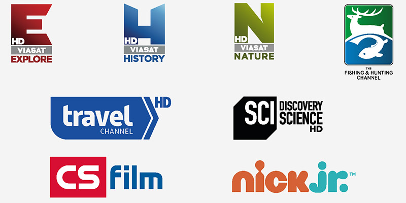 VIASAT EXPLORE HD, VIASAT HISTORY HD, VIASAT NATURE HD, THE FISHING & HUNTING CHANNEL, TRAVEL CHANNEL HD, DISCOVERY SCIENCE HD, CS FILM, NICK JR.